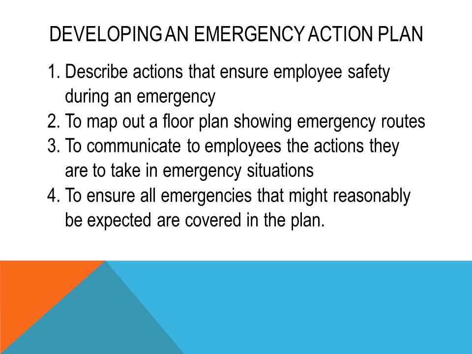 DEVELOPING AN EMERGENCY ACTION PLAN 1.Describe actions that ensure employee safety during an emergency 2.To map out a floor plan showing emergency rou