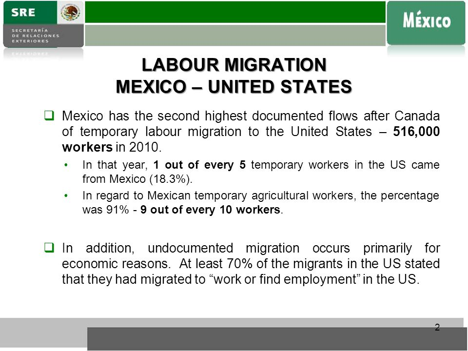 LABOUR MIGRATION MEXICO – UNITED STATES  Mexico has the second highest documented flows after Canada of temporary labour migration to the United States – 516,000 workers in 2010.