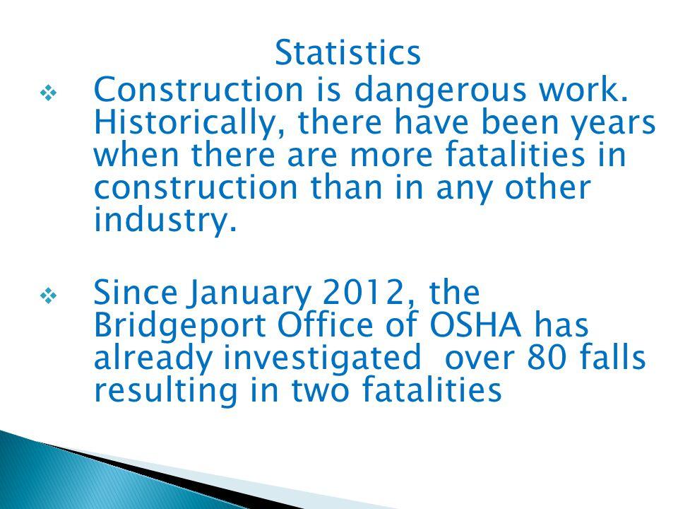 Statistics  Construction is dangerous work.