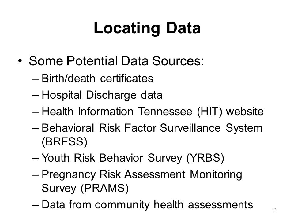 Locating Data Some Potential Data Sources: –Birth/death certificates –Hospital Discharge data –Health Information Tennessee (HIT) website –Behavioral