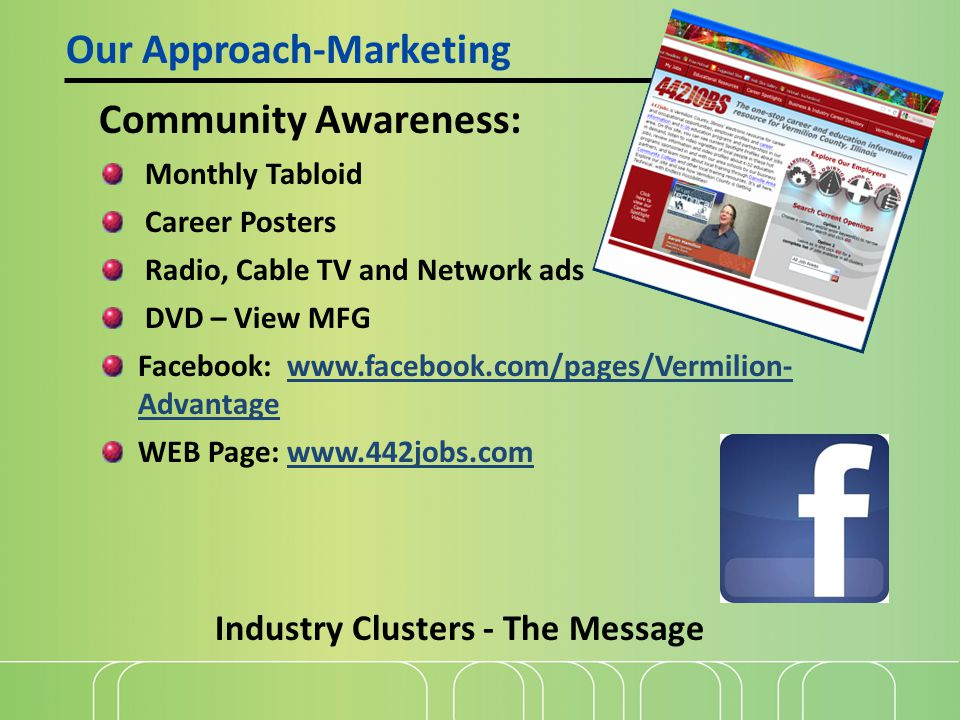 Community Awareness: Monthly Tabloid Career Posters Radio, Cable TV and Network ads DVD – View MFG Facebook: www.facebook.com/pages/Vermilion- Advantagewww.facebook.com/pages/Vermilion- Advantage WEB Page: www.442jobs.comwww.442jobs.com Our Approach-Marketing Industry Clusters - The Message