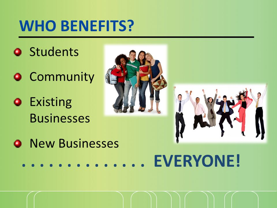WHO BENEFITS? Students Community Existing Businesses New Businesses.............. EVERYONE!