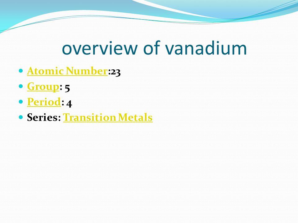 atomic structure of vanadium Atomic Radius: 1.92Å Atomic RadiusÅ Atomic Volume: 8.78cm 3 /mol Atomic Volumemol Covalent Radius: 1.22Å Covalent RadiusÅ Cross Section (Thermal Neutron Capture) σ a /barns: 5.08 Cross Sectionbarns Crystal Structure: Cubic body centered Crystal Structure