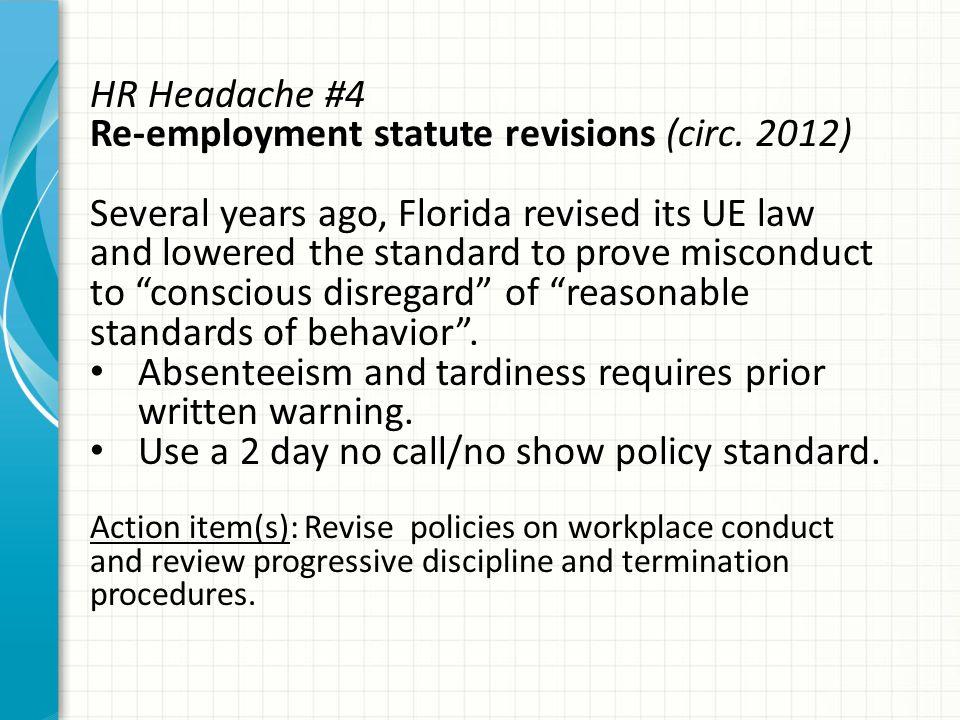 HR Headache #4 Re-employment statute revisions (circ.