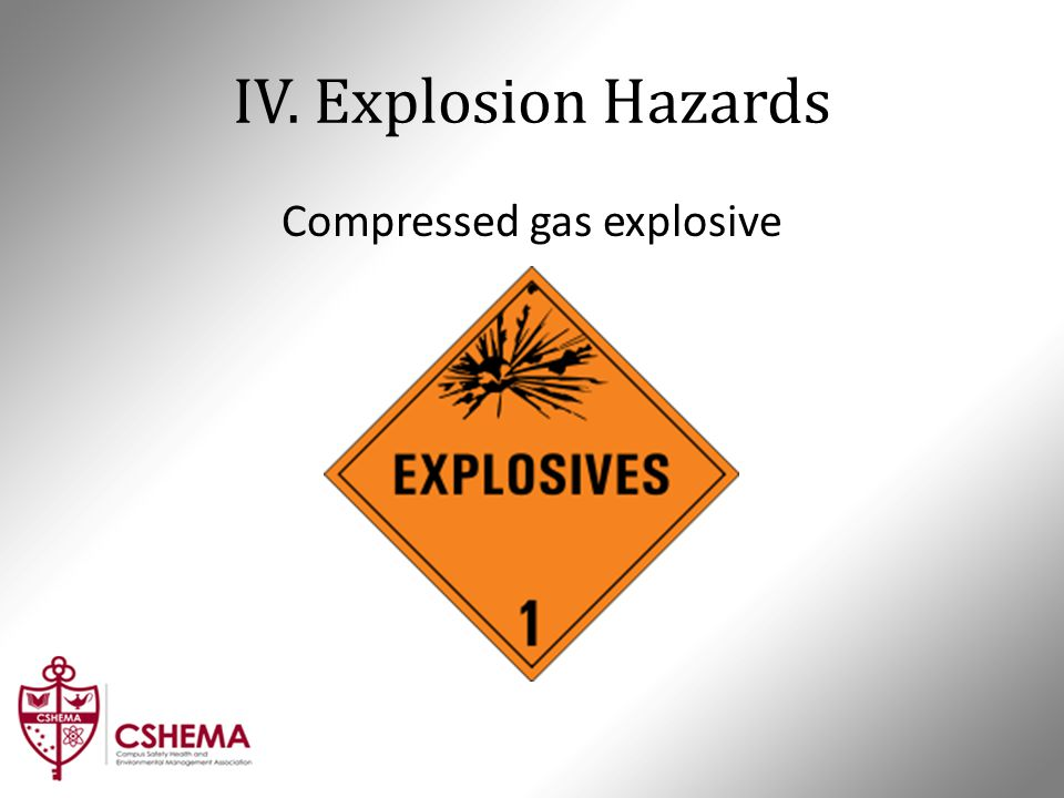 IV. Explosion Hazards Compressed gas explosive