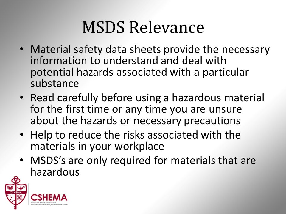 MSDS Relevance Material safety data sheets provide the necessary information to understand and deal with potential hazards associated with a particula