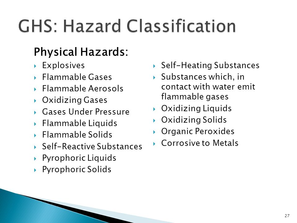 Physical Hazards:  Explosives  Flammable Gases  Flammable Aerosols  Oxidizing Gases  Gases Under Pressure  Flammable Liquids  Flammable Solids