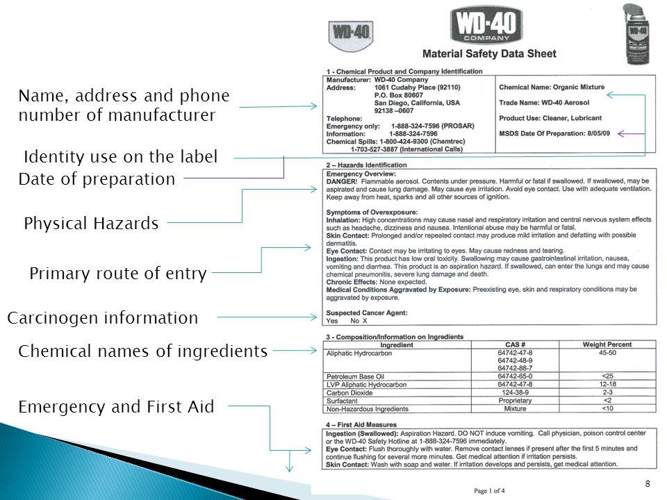 PEL/TLV Control measures Safe handling precautions 9