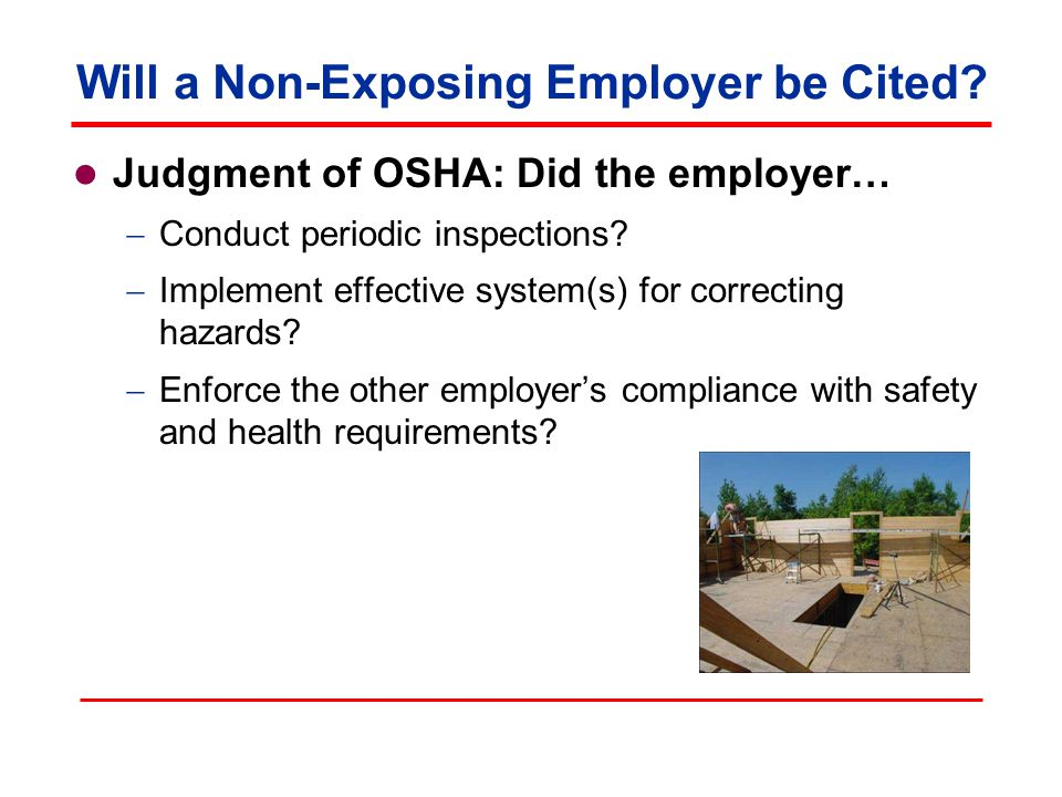 Will a Non-Exposing Employer be Cited.