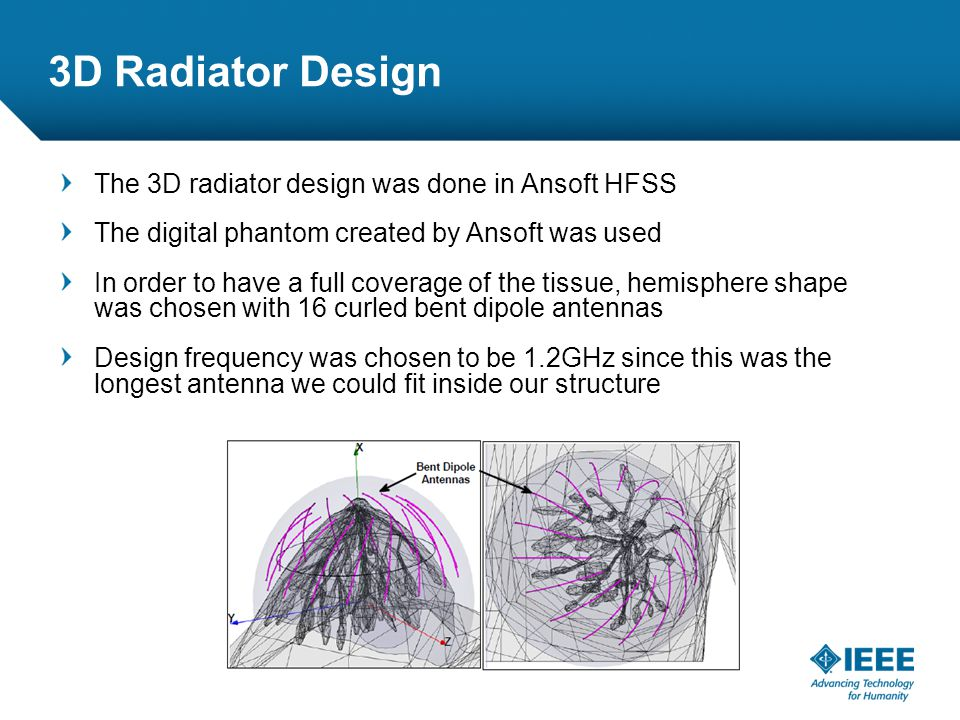 12-CRS-0106 REVISED 8 FEB 2013 3D Radiator Design The 3D radiator design was done in Ansoft HFSS The digital phantom created by Ansoft was used In order to have a full coverage of the tissue, hemisphere shape was chosen with 16 curled bent dipole antennas Design frequency was chosen to be 1.2GHz since this was the longest antenna we could fit inside our structure