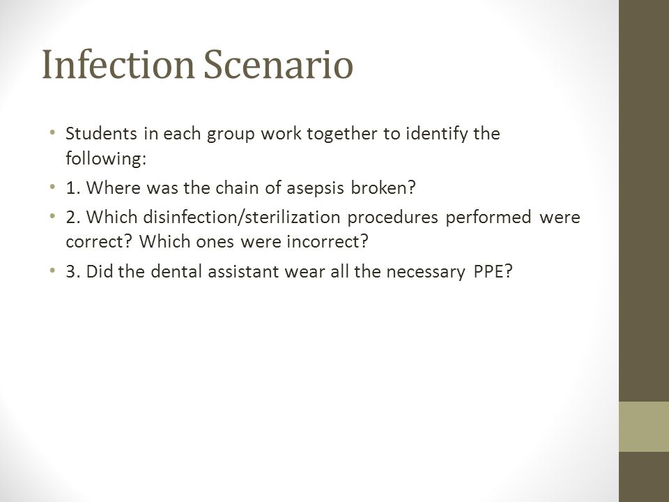 Infection Scenario Students in each group work together to identify the following: 1.