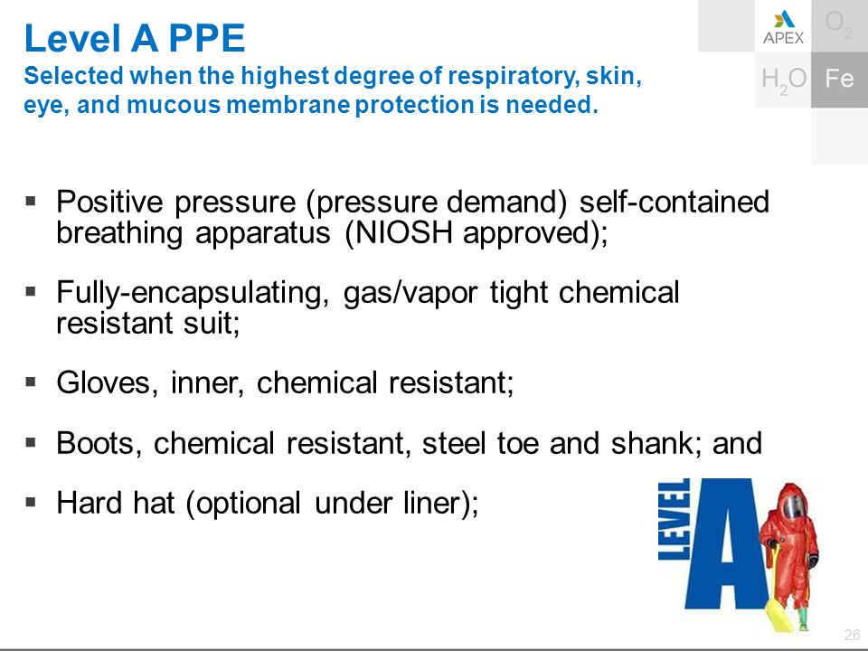Level A PPE Selected when the highest degree of respiratory, skin, eye, and mucous membrane protection is needed.  Positive pressure (pressure demand