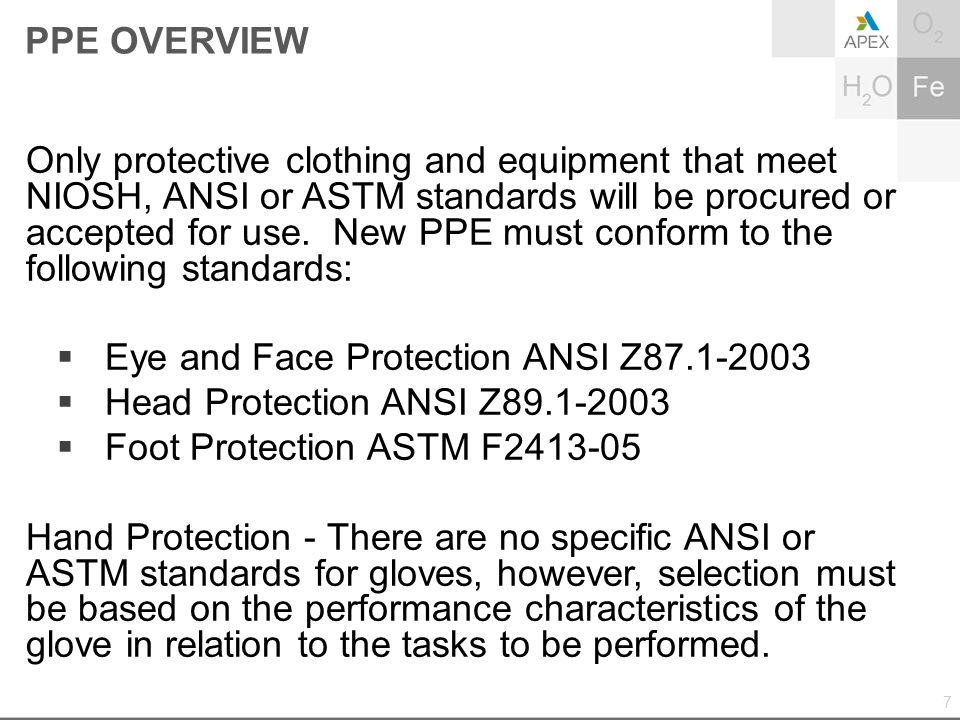 PPE OVERVIEW Only protective clothing and equipment that meet NIOSH, ANSI or ASTM standards will be procured or accepted for use. New PPE must conform