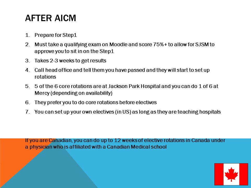 AFTER AICM 1.Prepare for Step1 2.Must take a qualifying exam on Moodle and score 75%+ to allow for SJSM to approve you to sit in on the Step1 3.Takes