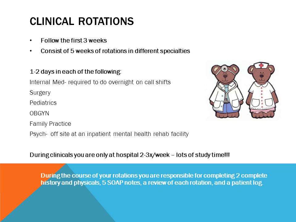 CLINICAL ROTATIONS Follow the first 3 weeks Consist of 5 weeks of rotations in different specialties 1-2 days in each of the following: Internal Med-
