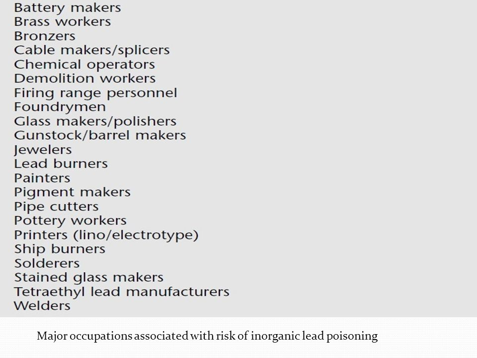 Major occupations associated with risk of inorganic lead poisoning