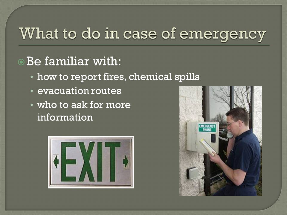  Be familiar with: how to report fires, chemical spills evacuation routes who to ask for more information