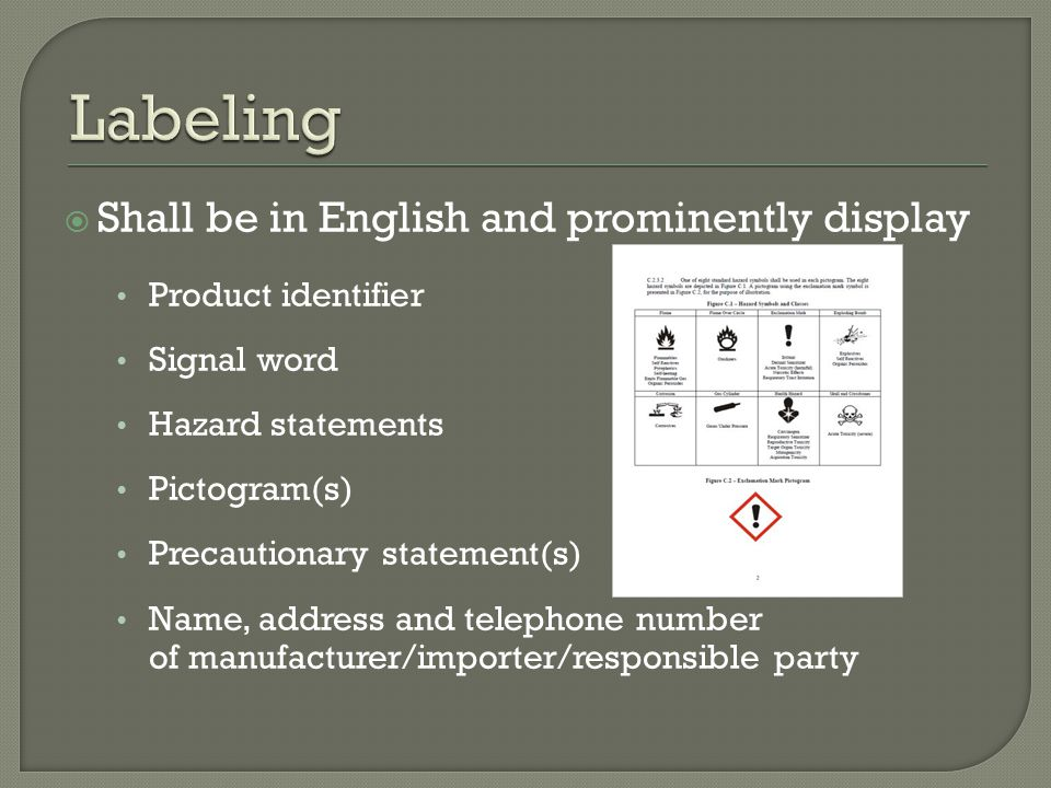  Shall be in English and prominently display Product identifier Signal word Hazard statements Pictogram(s) Precautionary statement(s) Name, address and telephone number of manufacturer/importer/responsible party