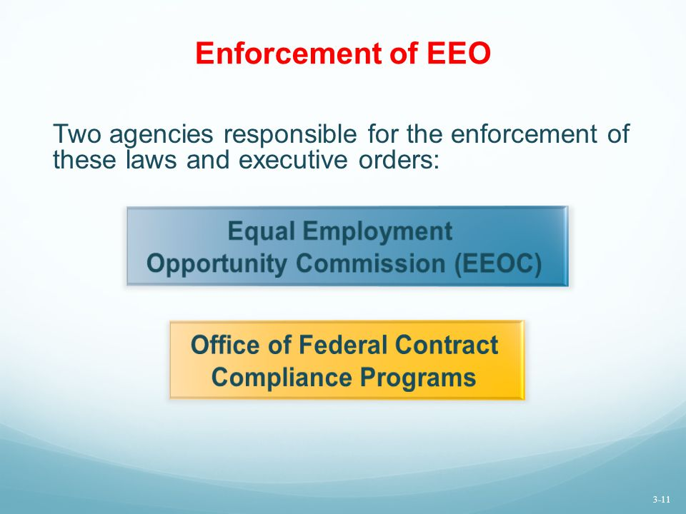 Enforcement of EEO Two agencies responsible for the enforcement of these laws and executive orders: 3-11