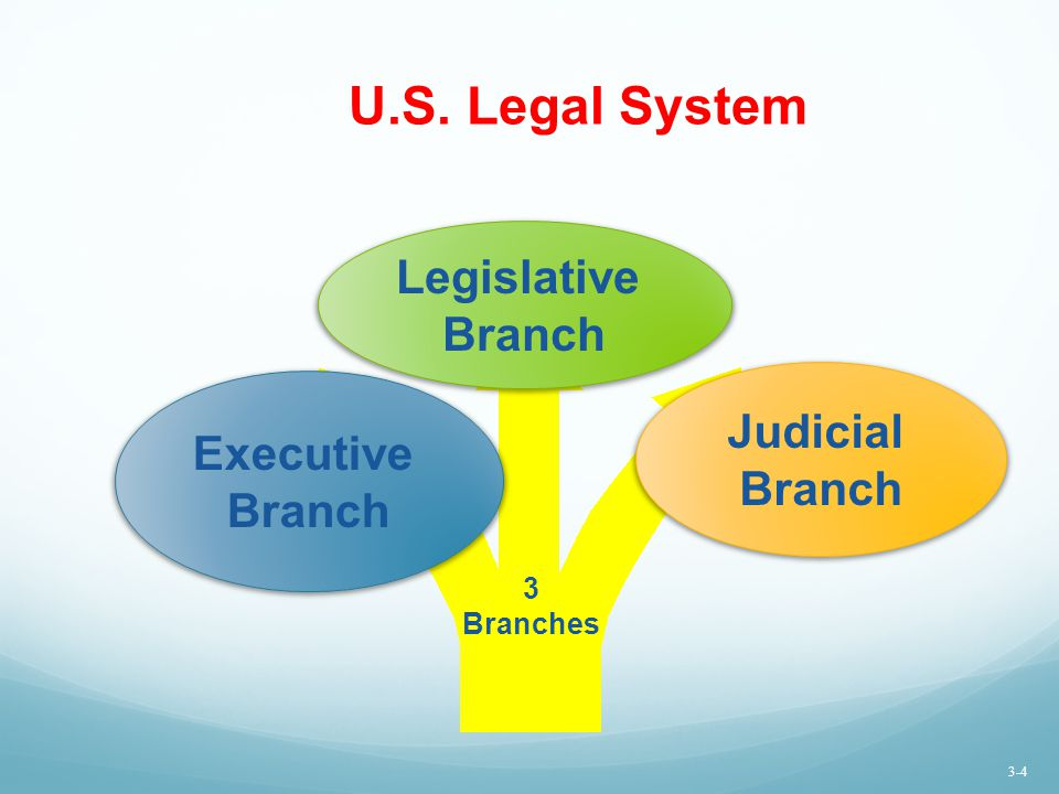 U.S. Legal System Executive Branch Judicial Branch Legislative Branch 3 Branches 3-4
