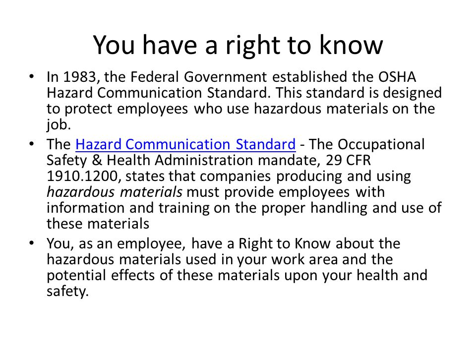 Elements of the OSHA Hazard Communication Standard The OSHA Hazard Communication Standard is composed of five key elements.