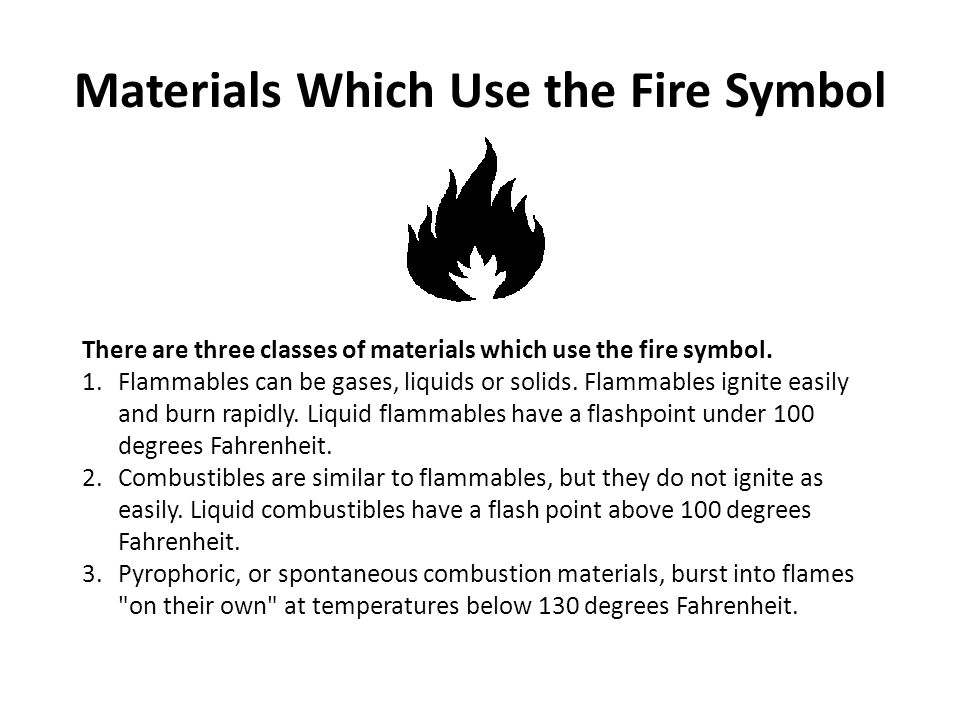 Materials Which Use the Fire Symbol There are three classes of materials which use the fire symbol. 1.Flammables can be gases, liquids or solids. Flam
