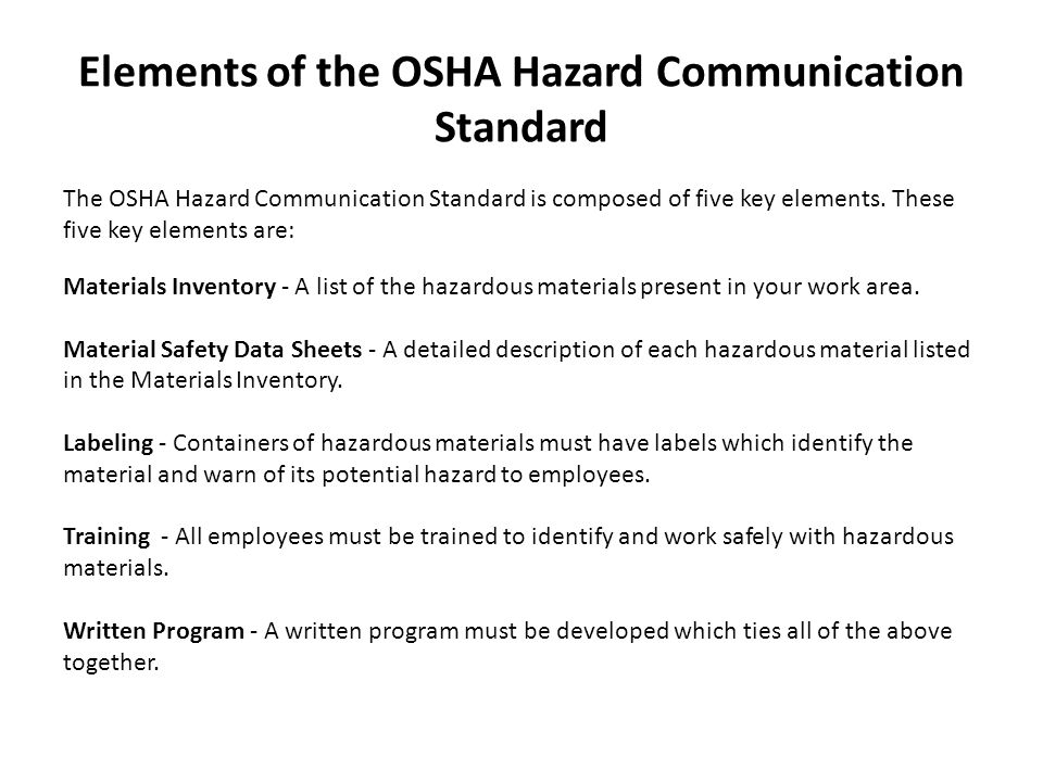 Health Hazards Health Hazards are one of two major classes of hazardous materials covered by the OSHA Communication Standard.