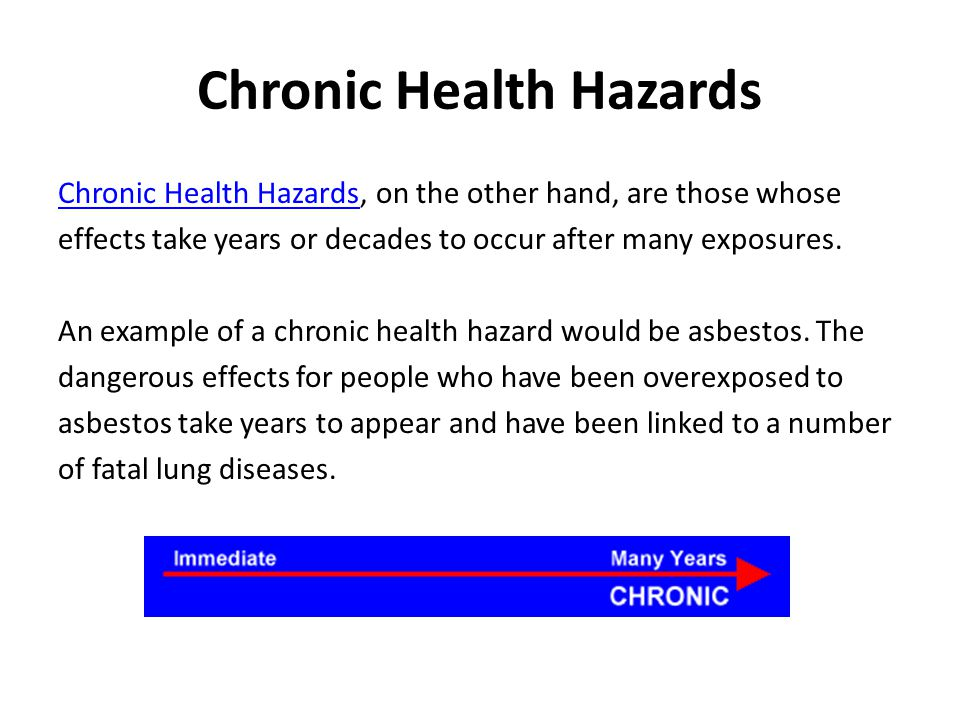 Chronic Health Hazards Chronic Health Hazards, on the other hand, are those whose effects take years or decades to occur after many exposures. An exam