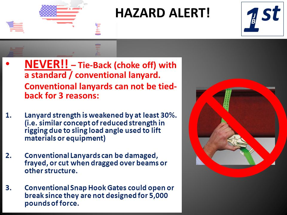 HAZARD ALERT. NEVER!. – Tie-Back (choke off) with a standard / conventional lanyard.