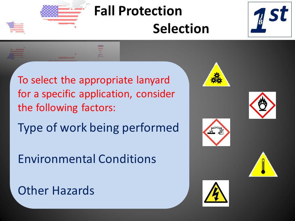 Fall Protection Selection To select the appropriate lanyard for a specific application, consider the following factors: Type of work being performed Environmental Conditions Other Hazards