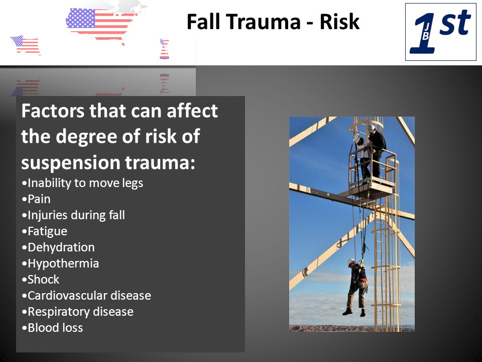 Fall Trauma - Risk Factors that can affect the degree of risk of suspension trauma: Inability to move legs Pain Injuries during fall Fatigue Dehydration Hypothermia Shock Cardiovascular disease Respiratory disease Blood loss