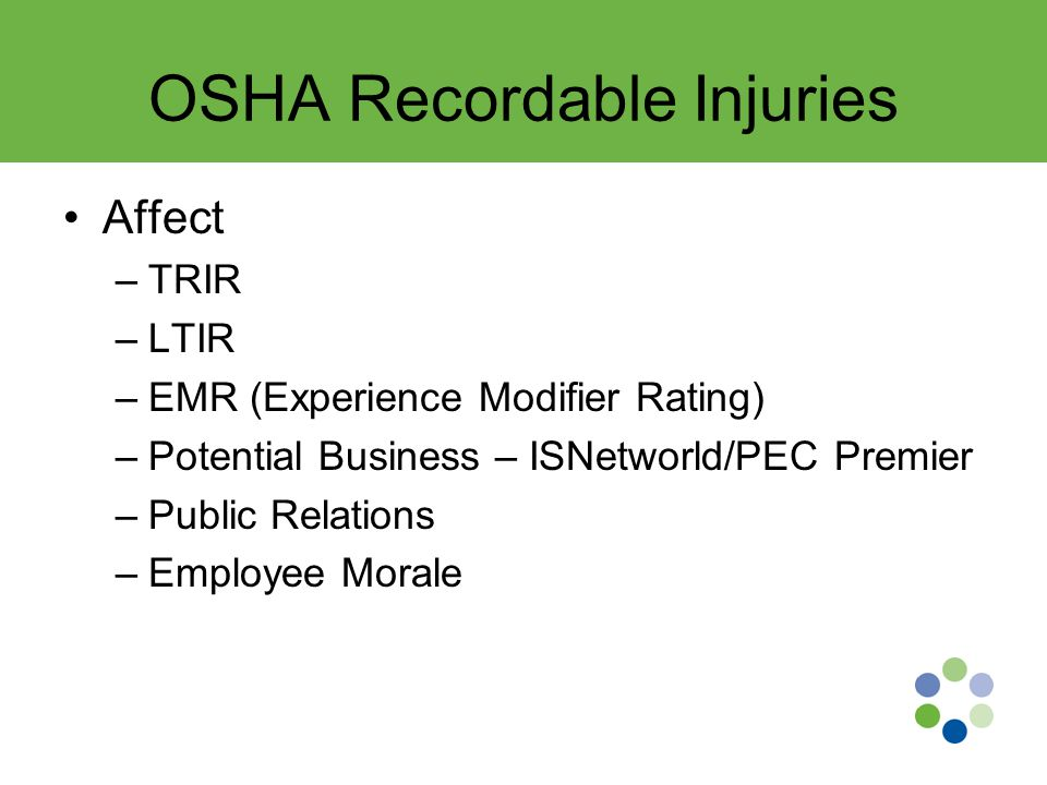 OSHA Recordable Injuries Affect –TRIR –LTIR –EMR (Experience Modifier Rating) –Potential Business – ISNetworld/PEC Premier –Public Relations –Employee Morale