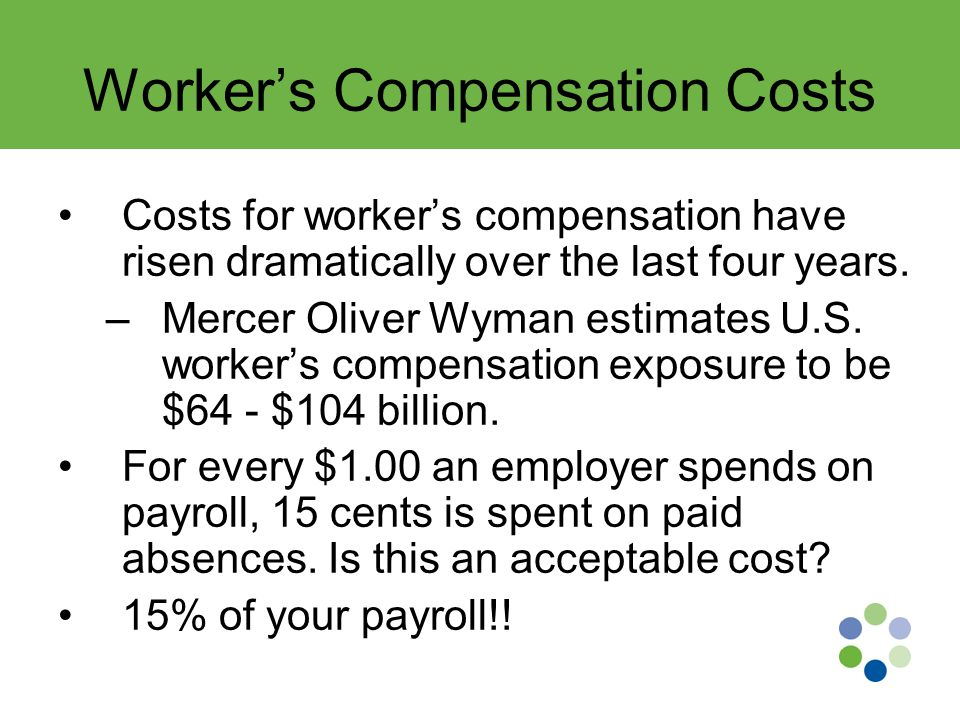 Worker's Compensation Costs Costs for worker's compensation have risen dramatically over the last four years.