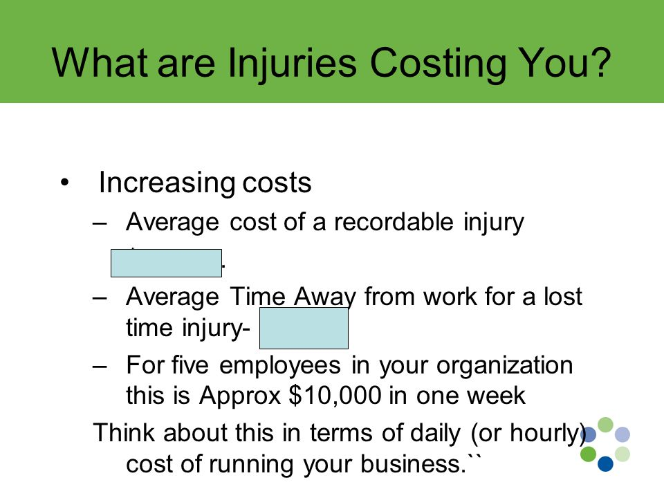 What are Injuries Costing You. Increasing costs –Average cost of a recordable injury $25,000.