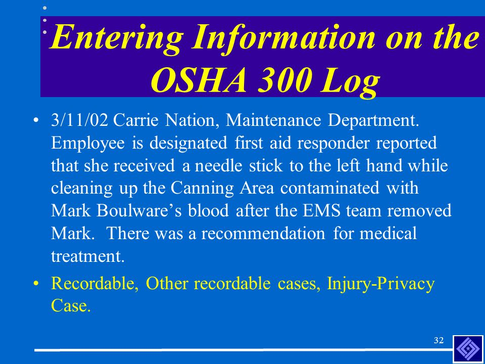 31 Entering Information on the OSHA 300 Log 3/9/02, Marilyn Rose, Canning Machine Operator in Canning Department.