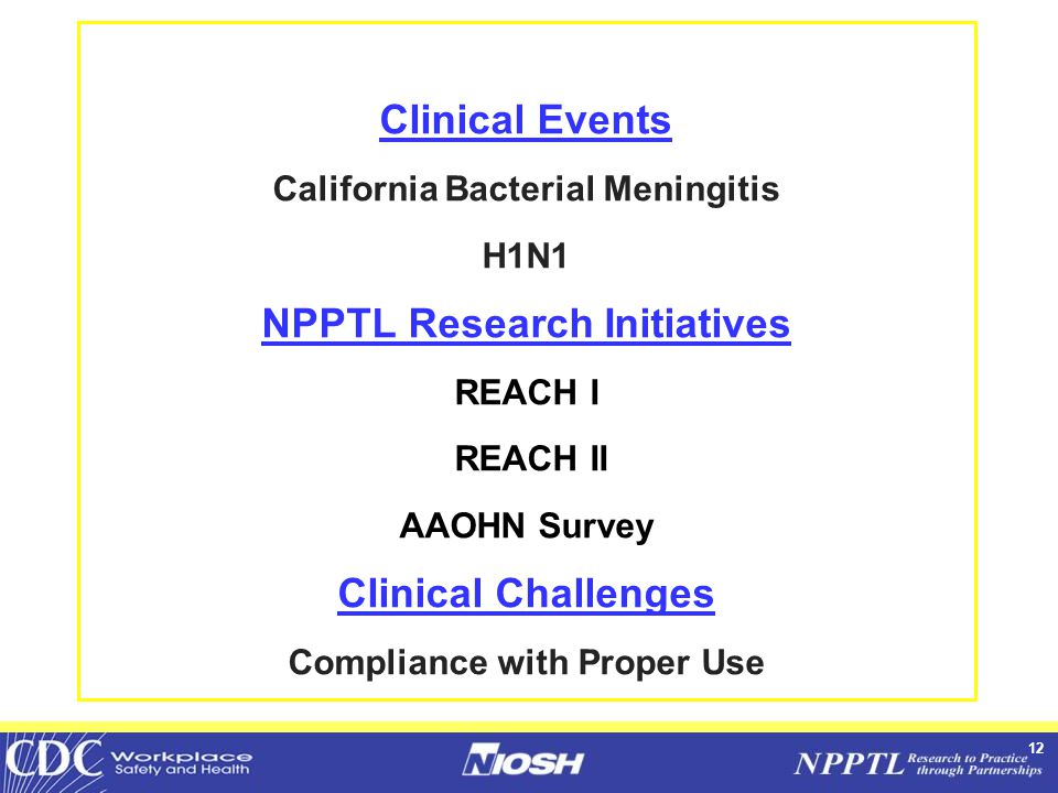 12 Clinical Events California Bacterial Meningitis H1N1 NPPTL Research Initiatives REACH I REACH II AAOHN Survey Clinical Challenges Compliance with Proper Use