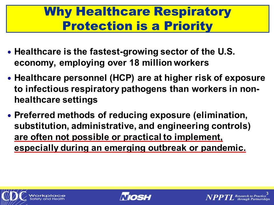 3 Why Healthcare Respiratory Protection is a Priority  Healthcare is the fastest-growing sector of the U.S. economy, employing over 18 million worker