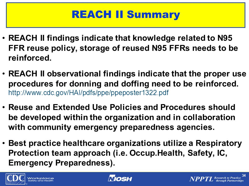 NPPTL Year Month Day Initials BRANCH 34 REACH II Summary REACH II findings indicate that knowledge related to N95 FFR reuse policy, storage of reused