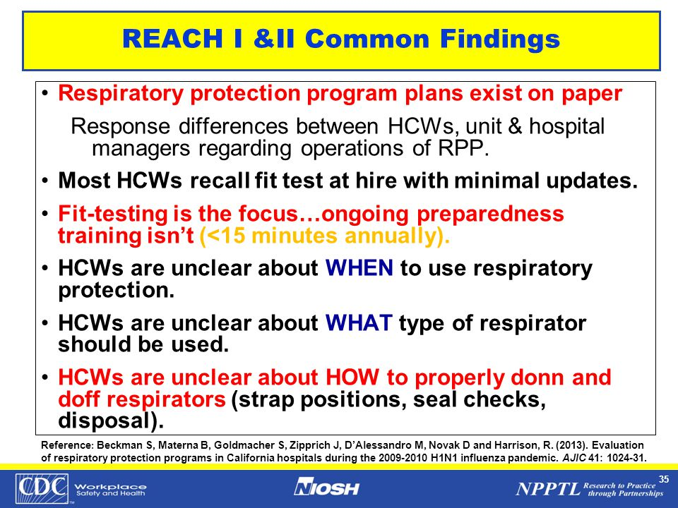NPPTL Year Month Day Initials BRANCH 35 REACH I &II Common Findings Respiratory protection program plans exist on paper Response differences between HCWs, unit & hospital managers regarding operations of RPP.