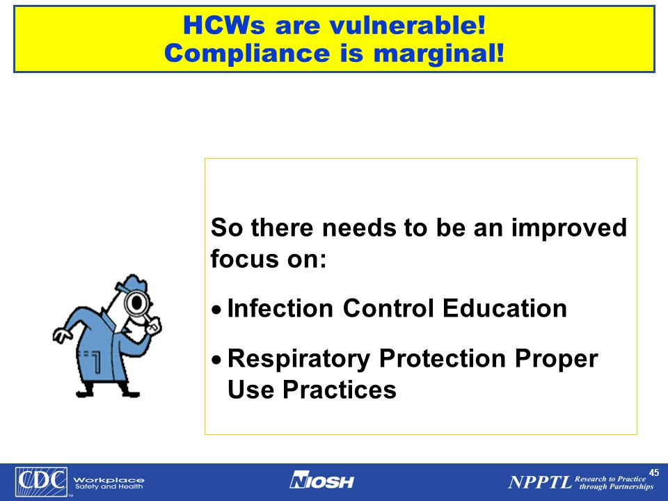 NPPTL Year Month Day Initials BRANCH 45 HCWs are vulnerable! Compliance is marginal! So there needs to be an improved focus on:  Infection Control Ed