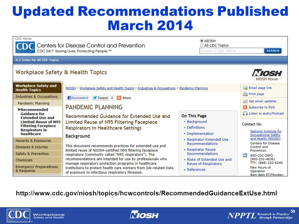 NPPTL Year Month Day Initials BRANCH 50 Updated Recommendations Published March 2014 http://www.cdc.gov/niosh/topics/hcwcontrols/RecommendedGuidanceEx