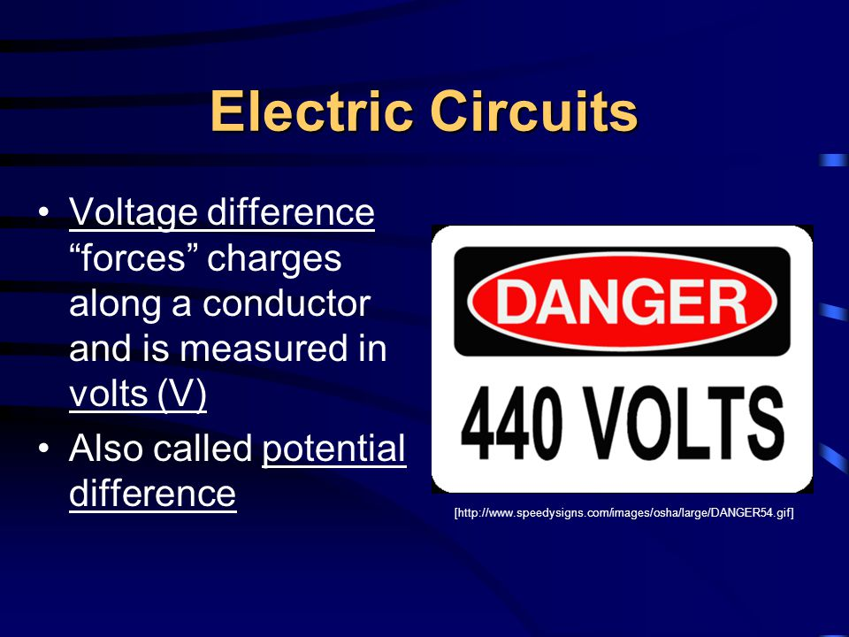 "Electric Circuits Voltage difference ""forces"" charges along a conductor and is measured in volts (V) Also called potential difference [http://www.spee"