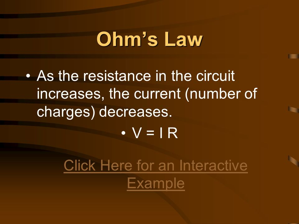 Ohm's Law Example: A circuit has a resistance of 0.5 Ω and has a current of 3.0 A.