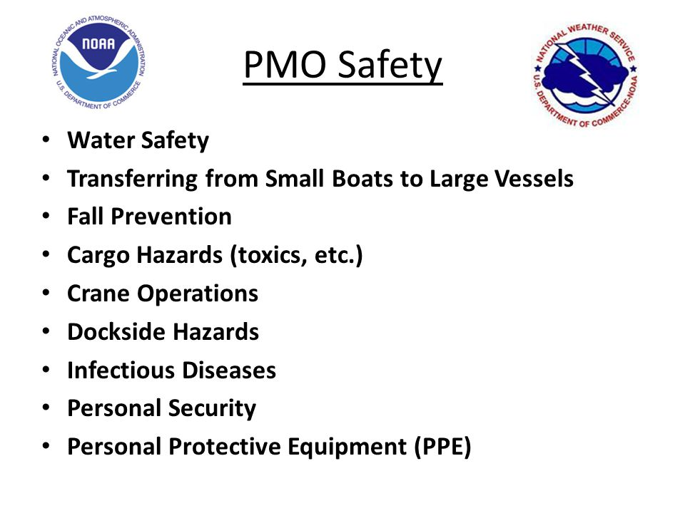 PMO Safety Water Safety Transferring from Small Boats to Large Vessels Fall Prevention Cargo Hazards (toxics, etc.) Crane Operations Dockside Hazards Infectious Diseases Personal Security Personal Protective Equipment (PPE)