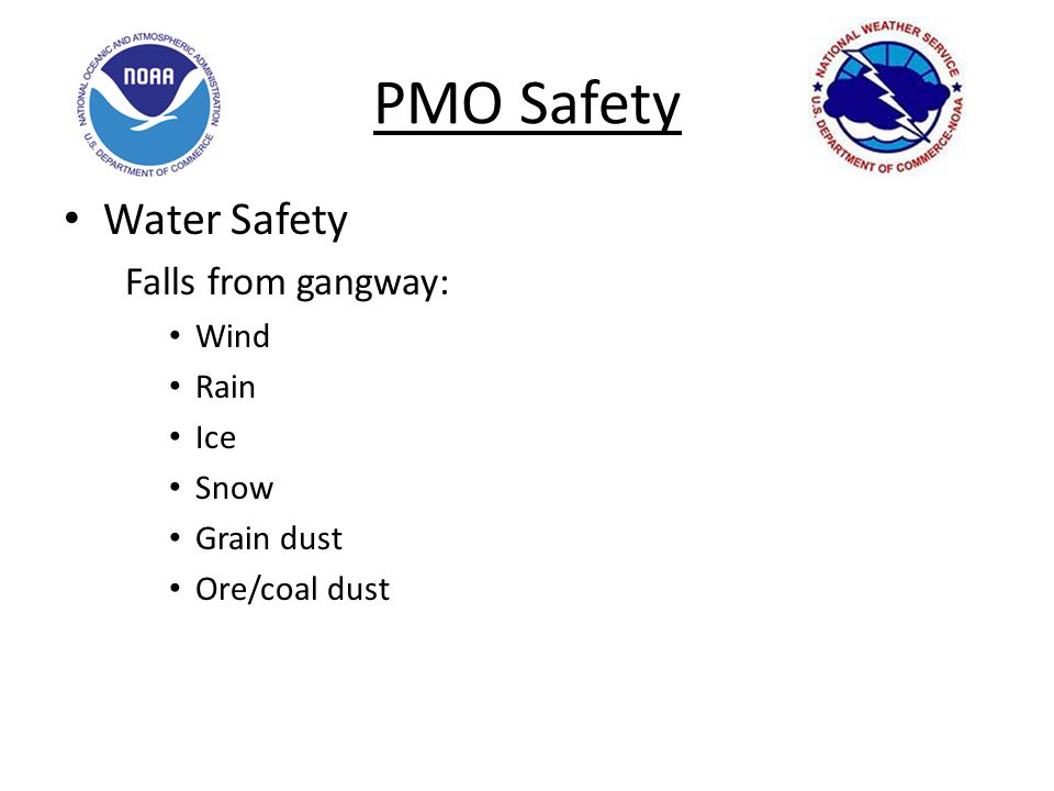 PMO Safety Water Safety Falls from gangway: Wind Rain Ice Snow Grain dust Ore/coal dust
