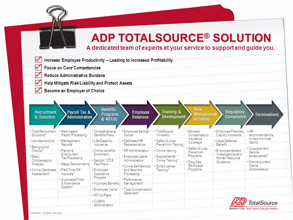Total Recruitment Solutions* Job descriptions Background Checks* Basic Compensation Analysis Online Candidate Assessment* ADP TOTALSOURCE ® SOLUTION A dedicated team of experts at your service to support and guide you.