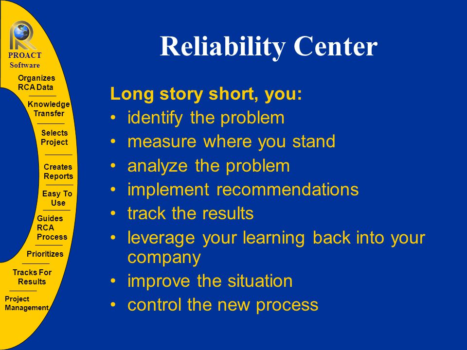 Guides RCA Process Organizes RCA Data Creates Reports Tracks For Results Selects Project Prioritizes Easy To Use Project Management Knowledge Transfer PROACT Software PROACT ® RCA Root Cause Analysis The PROACT ® RCA process guides the user through a simple approach to solve what the opportunity analysis identifies as problems