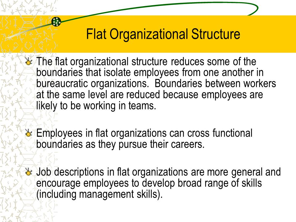 Flat Organizational Structure The flat organizational structure reduces some of the boundaries that isolate employees from one another in bureaucratic organizations.