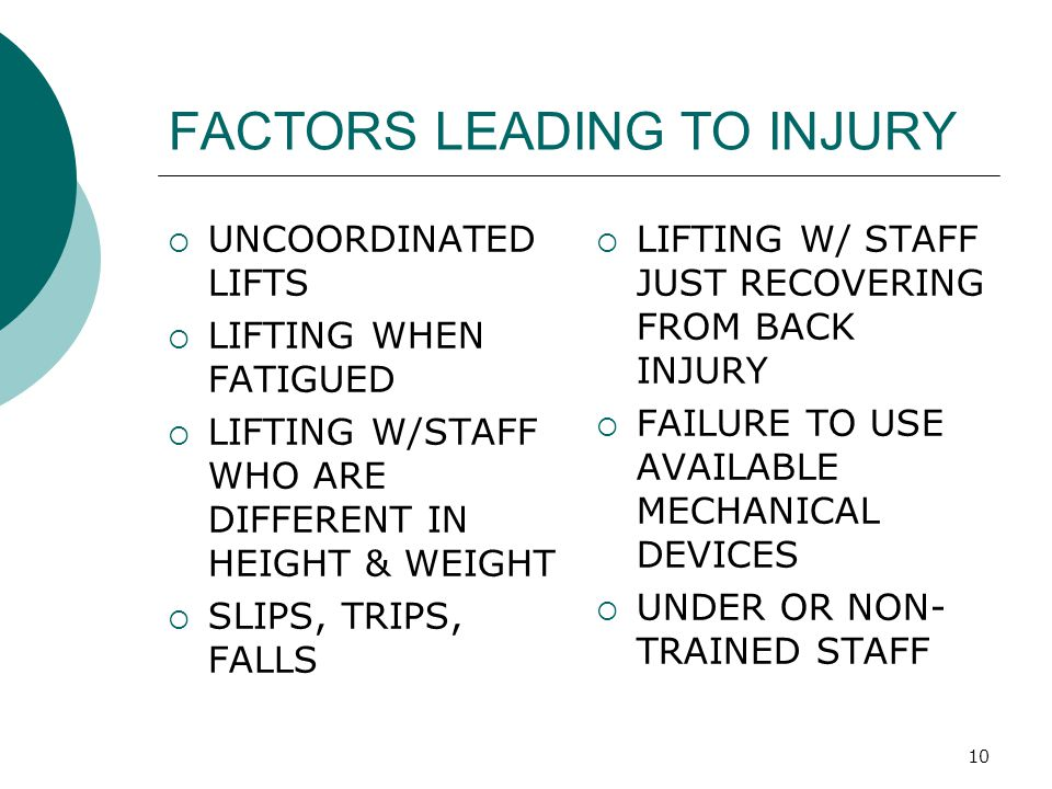 10 FACTORS LEADING TO INJURY  UNCOORDINATED LIFTS  LIFTING WHEN FATIGUED  LIFTING W/STAFF WHO ARE DIFFERENT IN HEIGHT & WEIGHT  SLIPS, TRIPS, FALL
