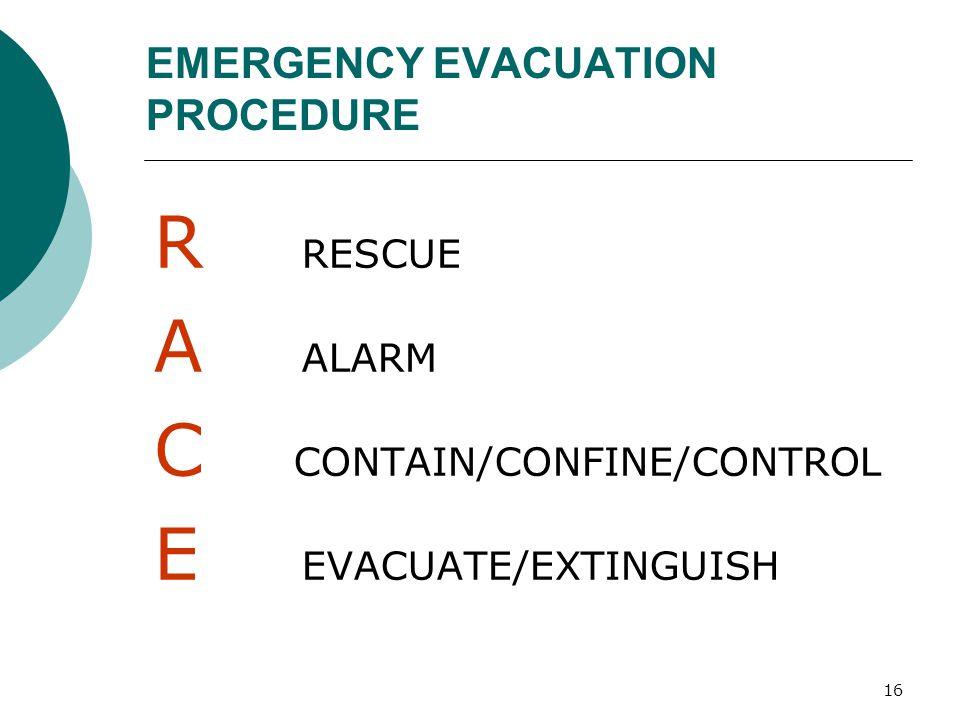 16 EMERGENCY EVACUATION PROCEDURE R RESCUE A ALARM C CONTAIN/CONFINE/CONTROL E EVACUATE/EXTINGUISH